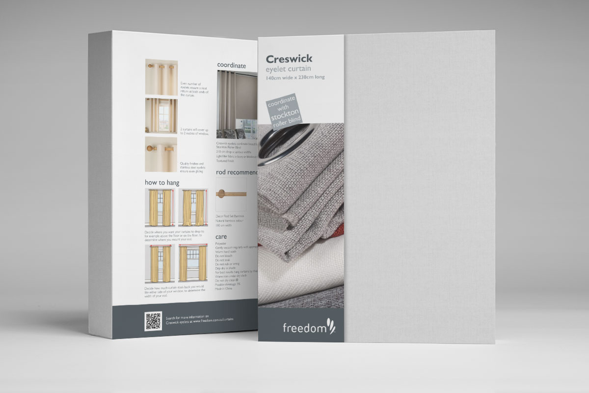 Freedom Furniture Curtain Packaging